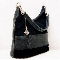 Sieviešu pleca soma Gilda Tohetti ar dabīgu zamšādu, melna art. 60321