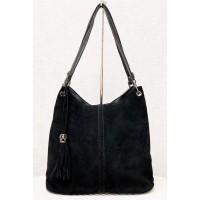 Sieviešu pleca soma Gilda Tohetti ar dabīgu zamšādu, melna art. 61922